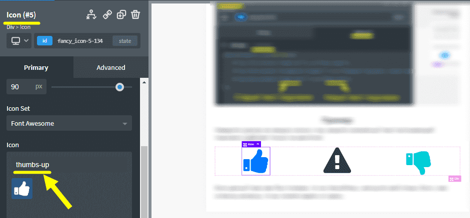 Где посмотреть имя SVG иконки в Oxygen?