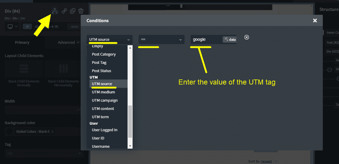 Oxygen Conditions: how show/hide content based on UTM tags?