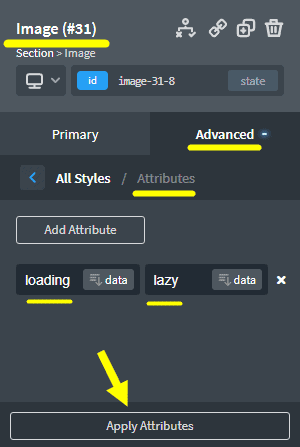 Enable for native Lazy Loading Images for the Image element in Oxygen